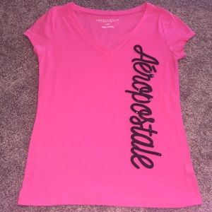 AEROPOSTALE Pink & Black Sequin V Neck Tee